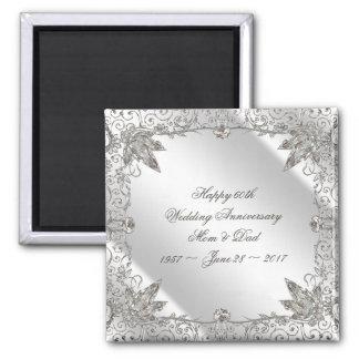 Imán del aniversario de boda del diamante 60.o del