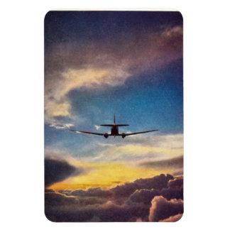 Imán del avión de pasajeros DC-3 y del sol ponient
