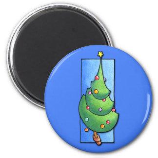 Imán del azul del árbol de navidad