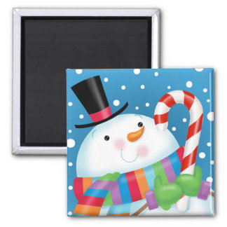 Imán del bastón del muñeco de nieve y de caramelo