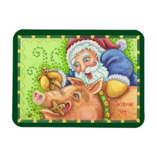 IMÁN del cerdo y de Santa del navidad