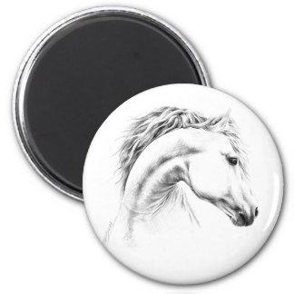 Imán del dibujo de lápiz del retrato del caballo
