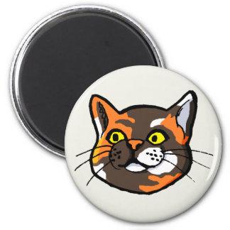Imán del refrigerador del dibujo del gato de la