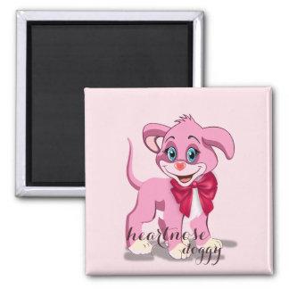 Imán Dibujo animado del perrito del rosa de la nariz