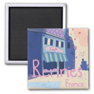 Imán Dibujo animado del vintage de Rennes Francia