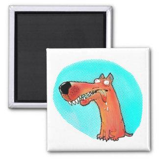 Imán dibujo animado divertido del perro estúpido