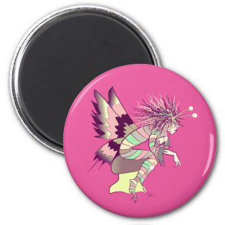 Imán Dibujo animado elegante del duende lindo rosado