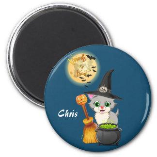 Imán Dibujo animado gris de Halloween del gatito
