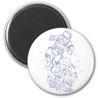 Imán Dibujo atado astronauta de la nave de Caravel
