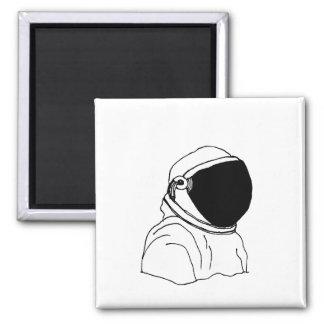 Imán Dibujo del astronauta blanco y negro