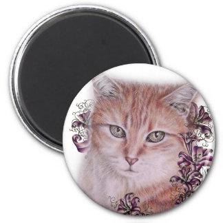 Imán Dibujo del gato de Tabby y de las flores