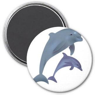 Imán Dos delfínes tropicales que saltan al lado de uno