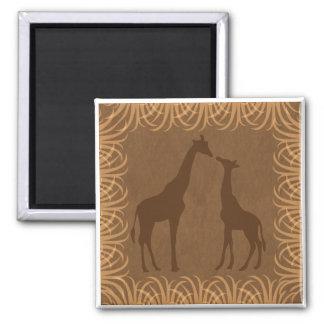 Imán Dos siluetas de la jirafa (tema del safari)