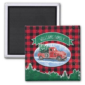 Imán El camión del vintage del navidad añade nombre