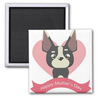 Imán El día de madre feliz de Boston Terrier
