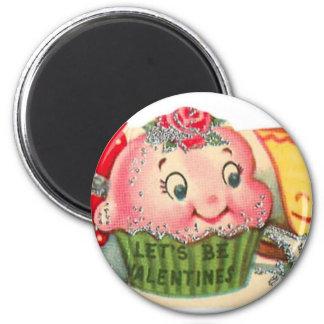 Imán El día de San Valentín retro de la magdalena y de