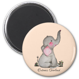Imán El elefante lindo del bebé de la acuarela con se