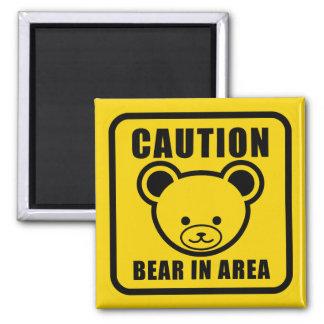 Imán El oso de peluche lindo peligro señal adentro