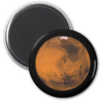 Imán El planeta rojo Marte con los casquetes glaciares