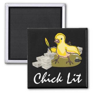 Imán Escritor del Lit del polluelo con el papel y la