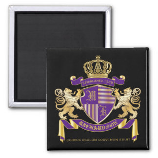 Imán Escudo de oro del león del emblema del monograma