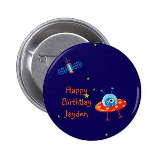Imán extranjero del cumpleaños de la nave espacial chapa redonda 5 cm