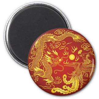 Imán Favor chino del boda de Phoenix del dragón rojo