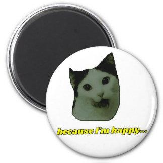 Imán feliz de la cara del gato