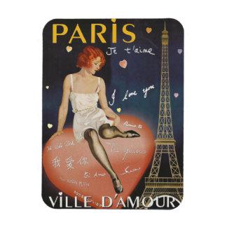 Imán Flexible Aime del t del je de París, cartel viejo