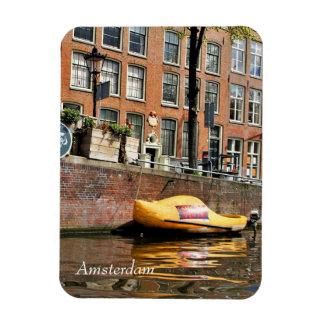 Imán Flexible Amsterdam, canal, barco de madera del zapato