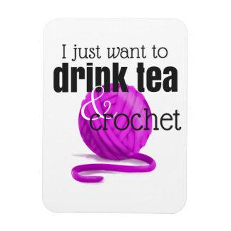 Imán Flexible Apenas quiero beber té y Crochet el hilado magenta