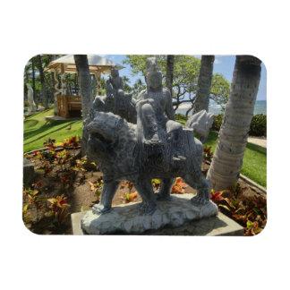 Imán Flexible Buda que monta una estatua del león, Waikoloa,