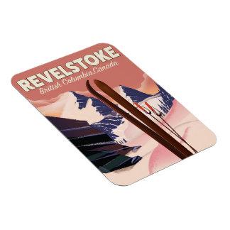 Imán Flexible Columbia Británica de Revelstoke, poster del esquí