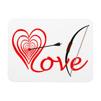 Imán Flexible Corazón amor blanco con flecha y arco