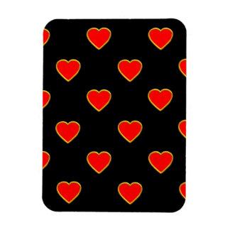 Imán Flexible Corazones rojos en un fondo negro