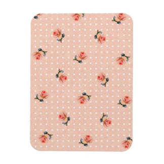 Imán Flexible Floral rosado y puntos del vintage