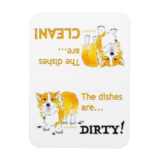 Imán Flexible Limpie los platos/el Corgi sucio de los platos