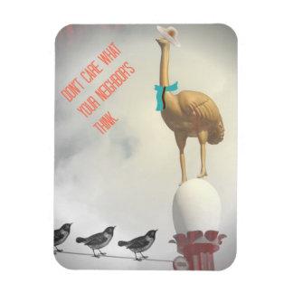 Imán Flexible Pájaros chistosos de la avestruz del texto en el