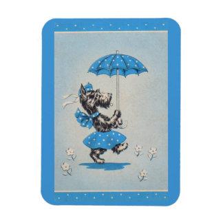 Imán Flexible Paraguas que lleva de la señora del perro del