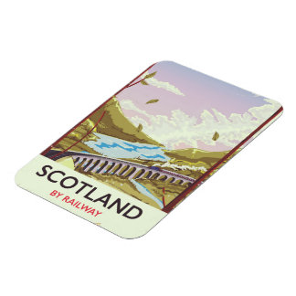 Imán Flexible Poster locomotor del viaje del vintage de Escocia