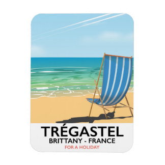 Imán Flexible Trégastel, poster del viaje de la playa de Bretaña
