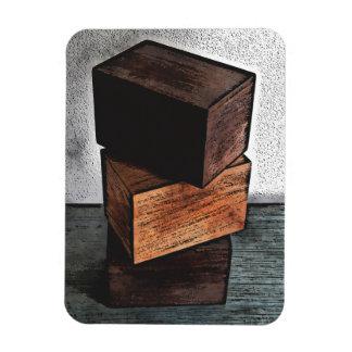 Imán Flexible Tres cajas de madera en el aparador