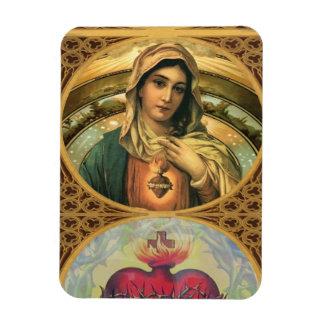 Imán Flexible Virgen María y el corazón sagrado de Jesús