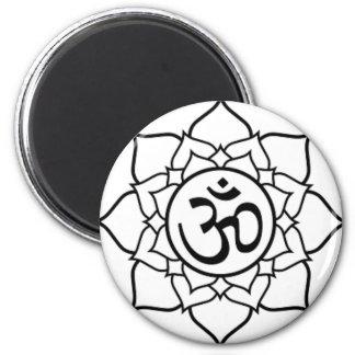 Imán Flor de Lotus, negra con el fondo blanco