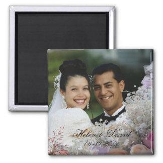 Imán floral del boda del marco de la foto