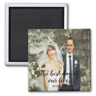 Imán Foto de encargo del boda con las letras negras de
