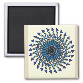 Imán geométrico azul del diseño del espiral de la