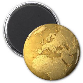 Imán Globo del oro - tierra del metal. Europa, 3d rinde