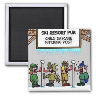 Imán Guardería del niño de la estación de esquí