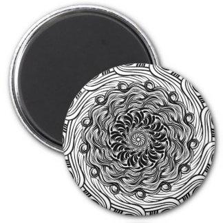 Imán Ilusión óptica del Doodle adornado del zen blanco